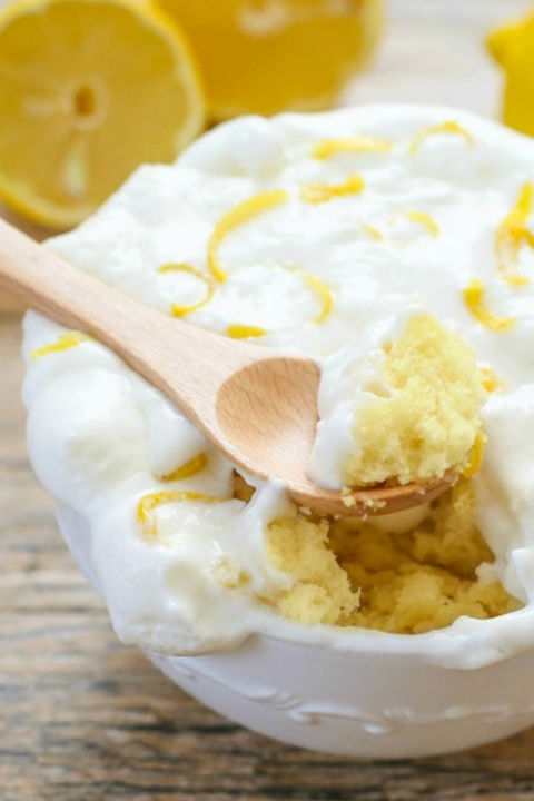 This light cake has just the right amount of lemon flavor. Top it with an airy whipped cream and raw lemon peels for extra zest. Get the recipe at Kirbie's Cravings.
