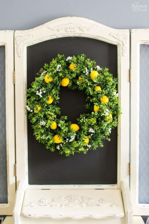 Add a punch of color to your wreath with faux fruit from the craft store.Get the tutorial at The Navage Patch.
