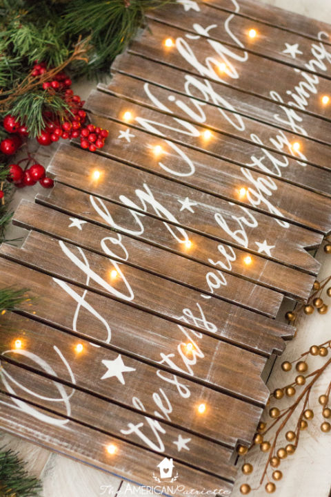 Add some rustic touches to your home with this DIY sign. Get the tutorial at The American Patriette.  What you'll need: wooden light-up sign ($35, hobbylobby.com); white acrylic paint ($10, amazon.com); wood stain ($7, amazon.com); painter's tape ($5, amazon.com)