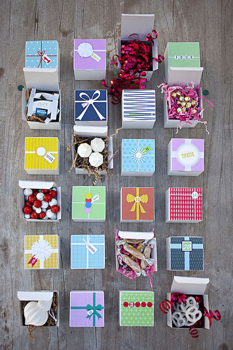 Start Christmas early with these 25 printable gift boxes. Stuff with some of your favorite treats to jumpstart the holiday!  Get the tutorial at You Are My Fave. What you'll need: 3x3 inch boxes ($14 for 50, amazon.com)