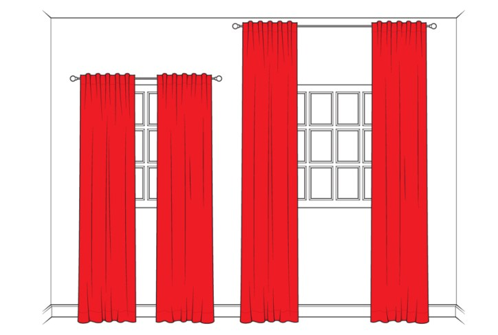 Curtains and Area Rugs Height Length Elongate Illusion Fabric Tall Ceilings Home Decor Interior Design Decorator Red and White