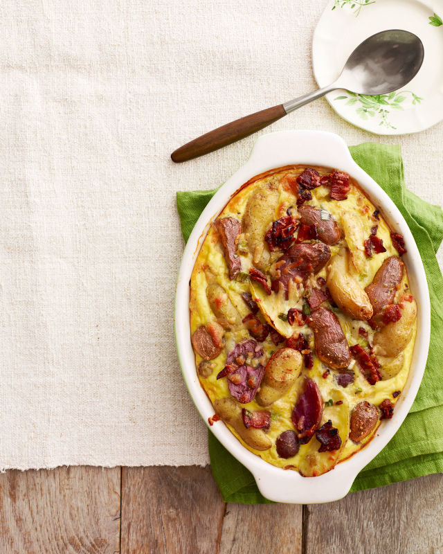 potato and manchego casserole with maple bacon