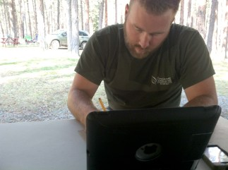 Clyde concentrating on his fantasy football draf in Missoula, MT.