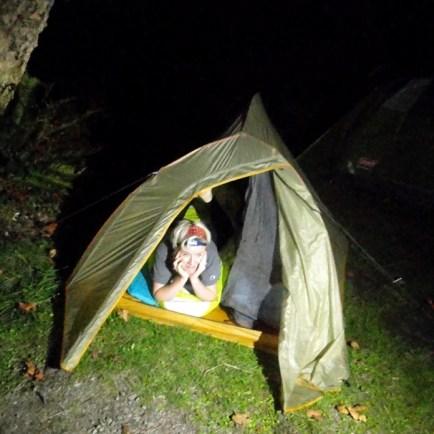 pam put owen's tent up!