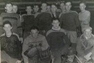 North River Team - 1954-55 - BACK ROW: Art MacPhail, Art Wheatley, Lorne MacLean, Willard MacDonald, Harold Smith, Charlie Lank, Billy Lank, Buddy MacKinley, George MacLeod, Jack MacEachern; FRONT ROW: Donnie Murray, Stewart Millar, Reg Newson, Keir Warren (Coach)