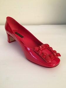 Ballerine Louis Vuitton cuir vernis rouge boucle