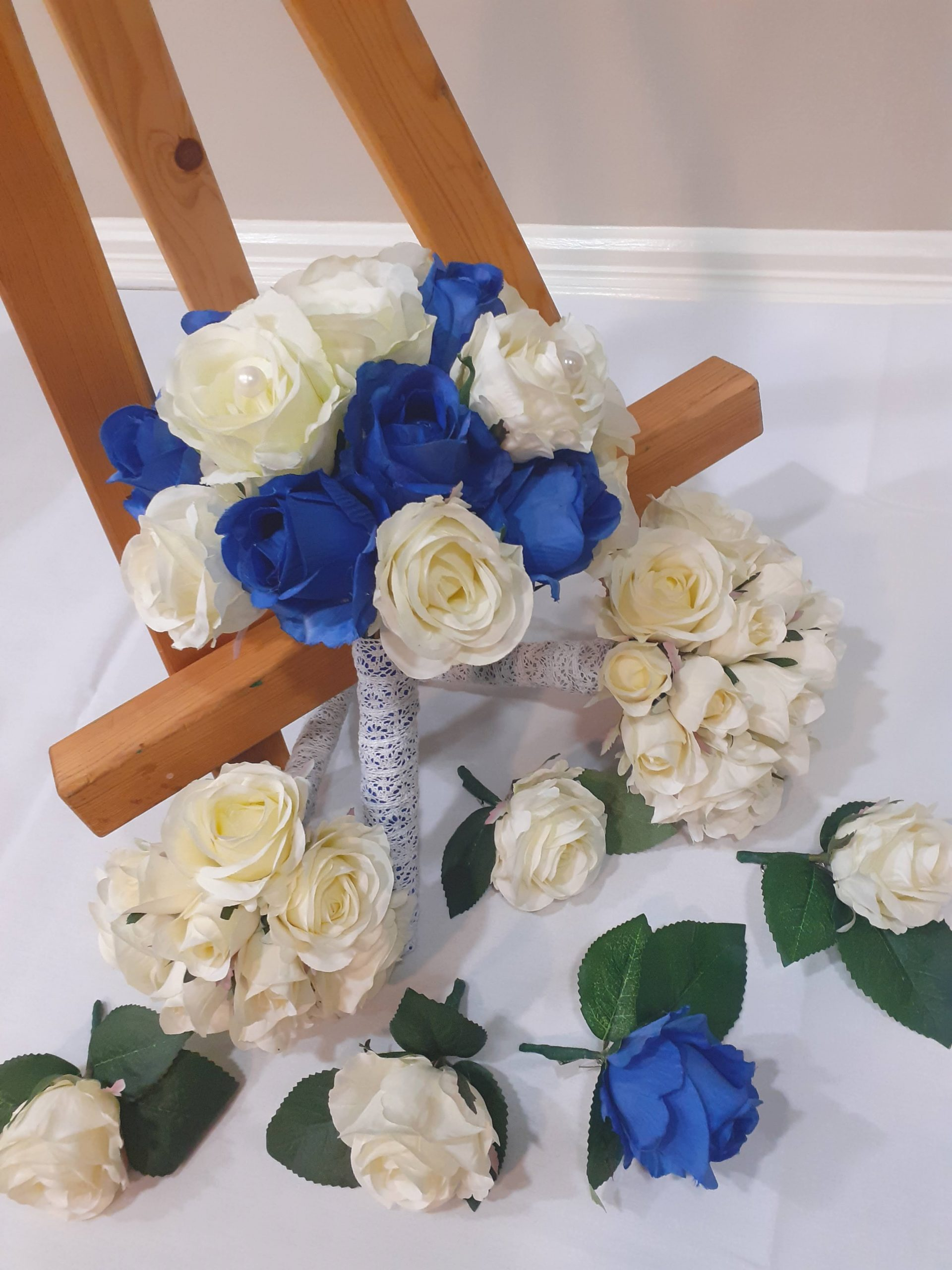 Blue and White Flowers and Bouquet
