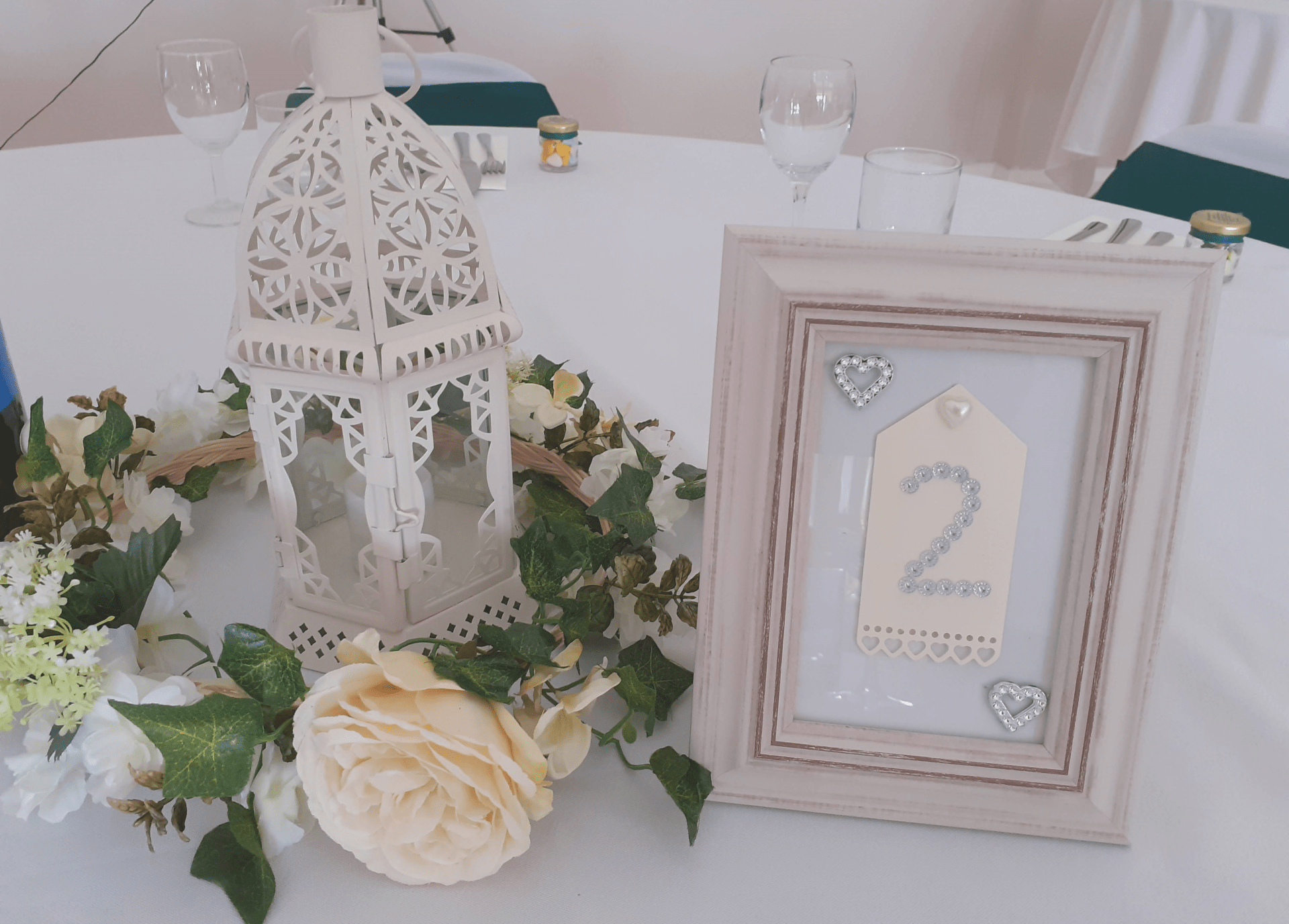 Lantern Table Centre and Table Number With Roses