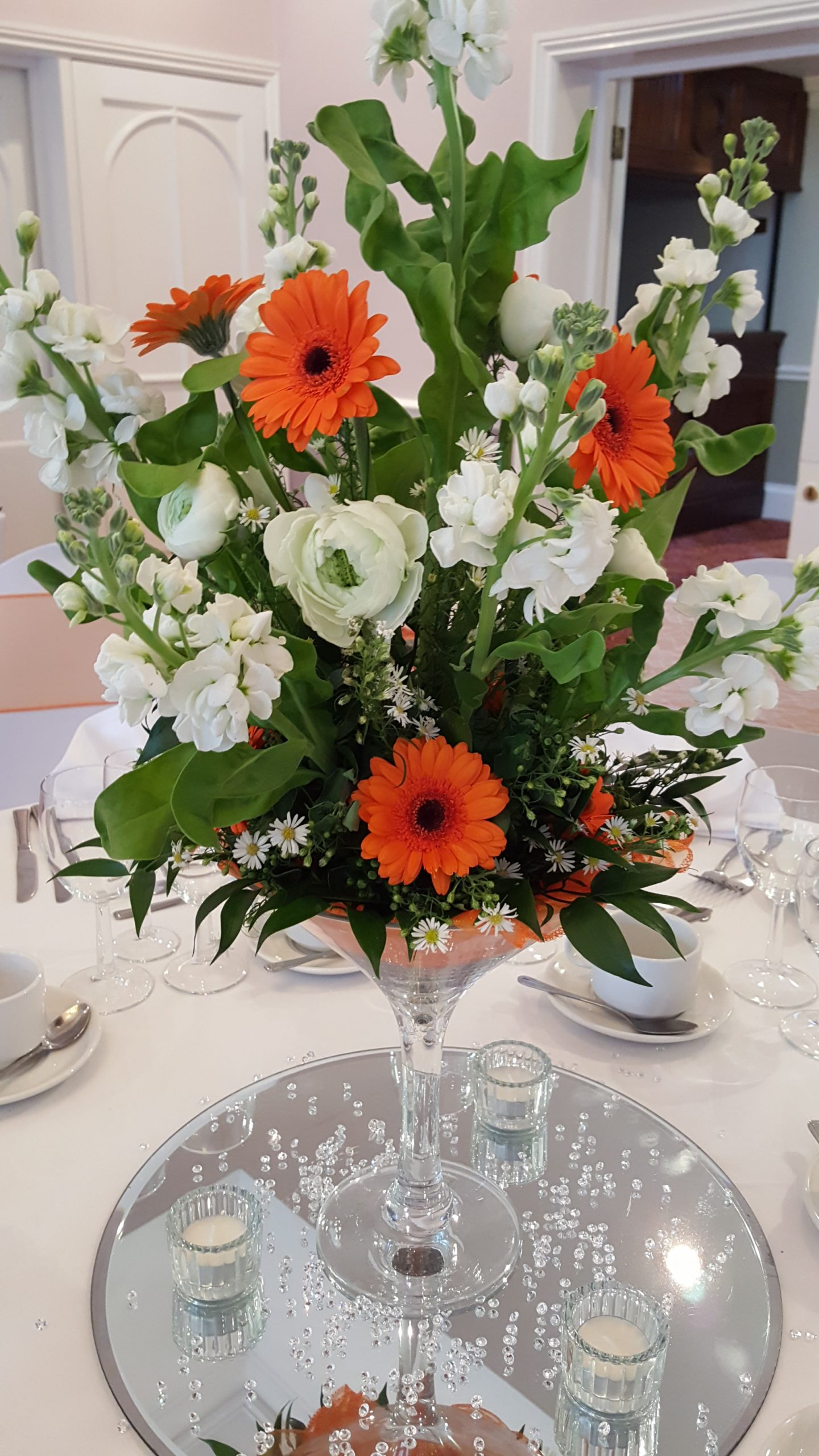 Orange and White flower Table Center