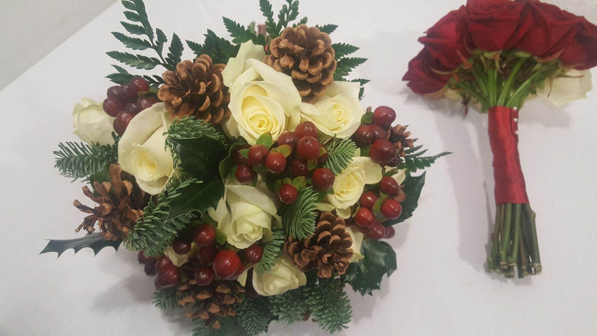 Autumn Themed Bouquet with Pinecones & Berries