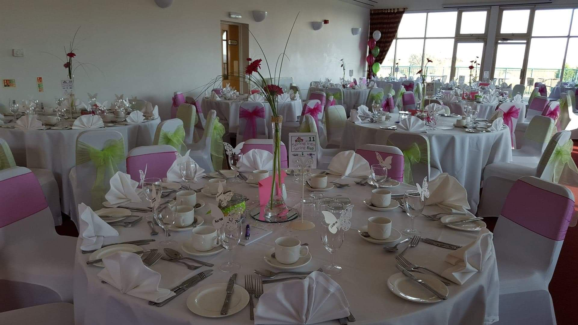 Pink and Green Themed Wedding with Balloon , Table Numbers and Centers