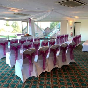 Pink sashes with Venue Draping