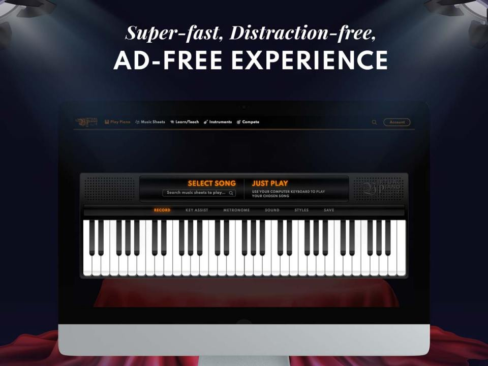 Ad-free experience, Virtual Piano, Laptop