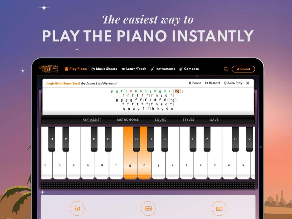 Easiest way to play the piano instantly, Virtual Piano, Tablet