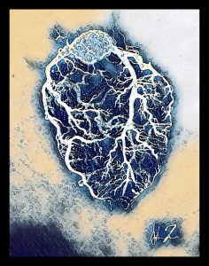 Digital art of an anatomical heart shape in blue with white blood vessels on top.