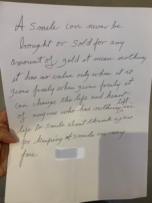 Picture of the handwritten note showing the poem text
