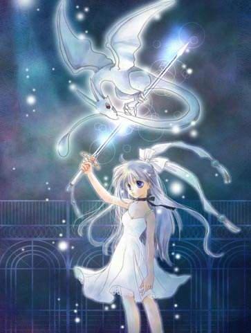 fille manga avec baguette lumineuse magie et petit dragon rose pâle