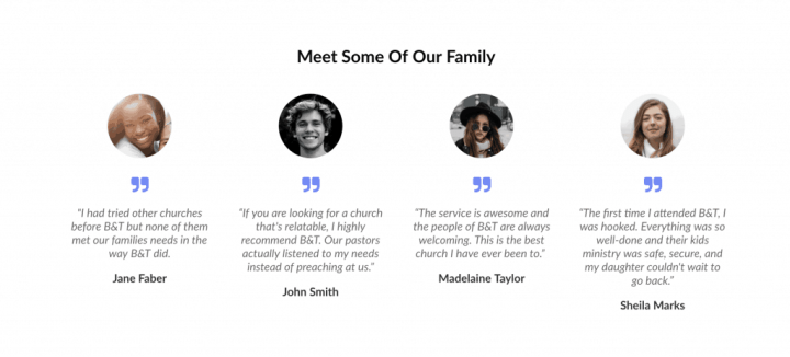 easter landing page social proof meet some of our family church testimonials