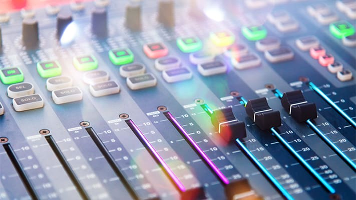 digital sound board with green blue and red backlighting