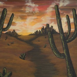 acrylic painting of an orange desert with cactus
