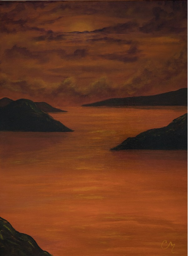 acrylic painting of a orange water sunset with distant mountain silhouettes