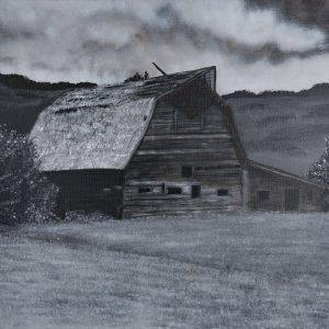 Acrylic Painting of a black and white barn