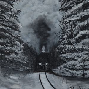 acrylic painting of black and white trees and train