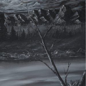 black and white acrylic painting of mountains with a slim tree across the center