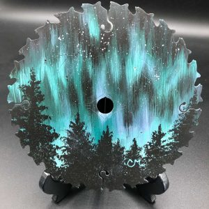 Bright-Night-Moves-Acrylic-Painted-Round-Saw-Blade-by-Chelsey-Marchand