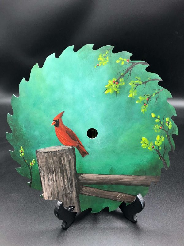 The-Cardinal-round-acrylic-painted-saw-blade-by-chelsey-marchand