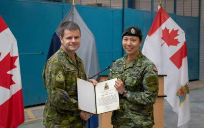 CFJSR MCpl Gregg was presented with Command Commendation
