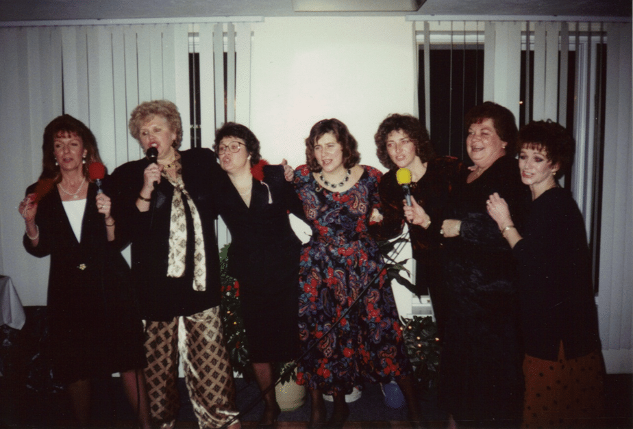Wives had as much fun as the husbands during our social times.  Christmas party 1993 at McQuales Restaurant Shrewsbury.  From left Mrs.'s Parker, McGinley, Healy, Colleary, Handfield, Cudak and Ryder.