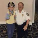 Cancer patient with Chief Healy at Dana Farber