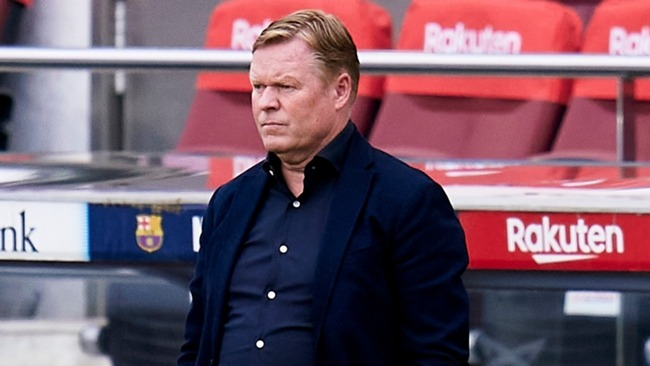 Ronald Koeman was shown a red card during Barcelona's game with Granada at Camp Nou.