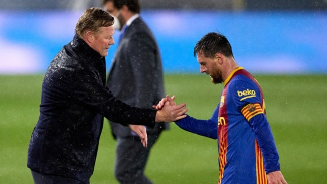 Barcelona boss Ronald Koeman and captain Lionel Messi