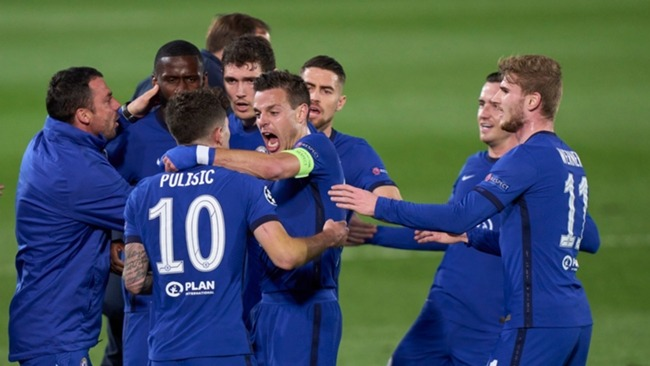 Chelsea celebrate Pulisic's goal against Real Madrid