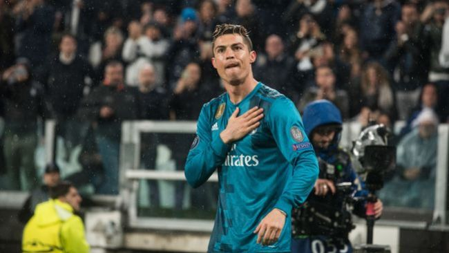 Cristiano Ronaldo celebrates at Juventus in 2018 after his stunning overhead kick for Real Madrid