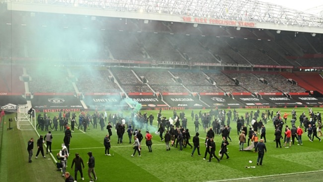 Protestors on the pitch at Old Trafford