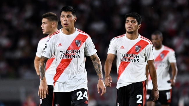 River Plate midfielder Enzo Perez (left) is set to have to play as a goalkeeper in the Copa Libertadores