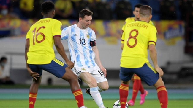 Lionel Messi in action against Colombia