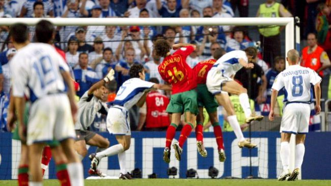 Angelos Charisteas scores the winning goal in Greece's European Championship final clash with Portugal