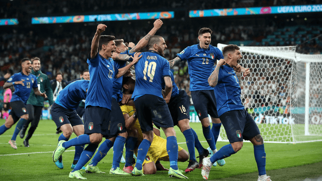 Italy celebrate victory over England on penalties