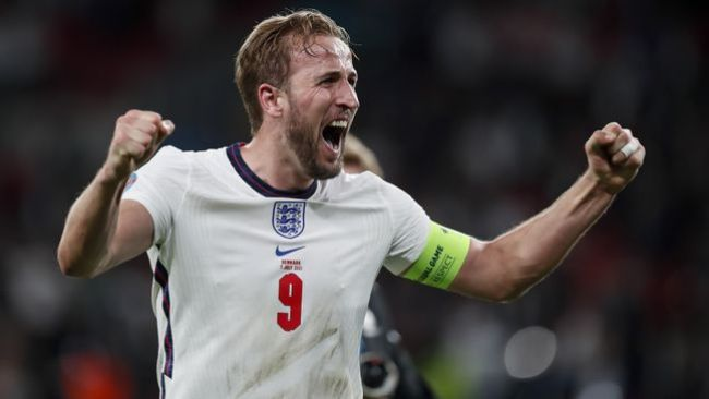 Harry Kane celebrates after England's 2-1 extra-time victory over Denmark in the Euro 2020 semi-final