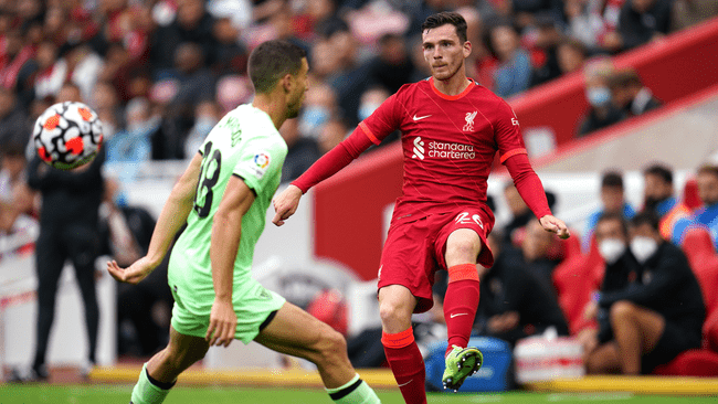 Left-back Andy Robertson was injured as the Reds drew with Athletic Club at Anfield