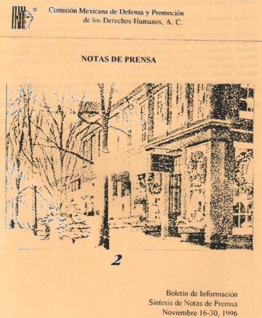 Notas de Prensa -16 al 30 de Noviembre de 1996