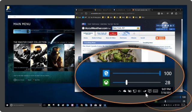 Windows 10 desktop showing the Ear Trumpet popup menu in the taskbar notification area.