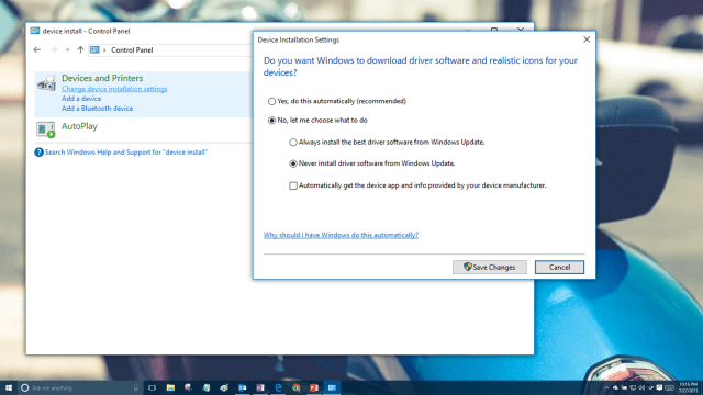 Device driver installation settings for Windows 10