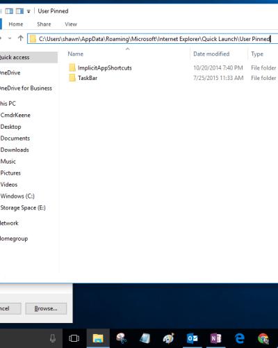 Windows 10 showing Run box and User Pinned folder