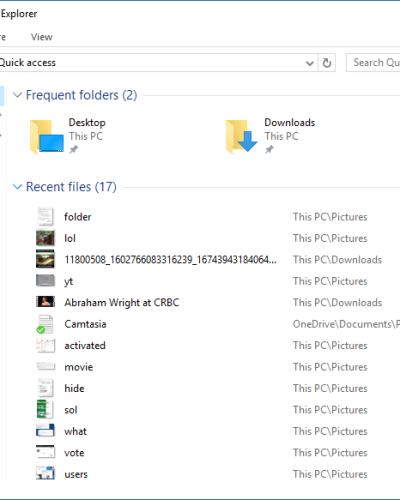 Quick Access folder in Windows 10