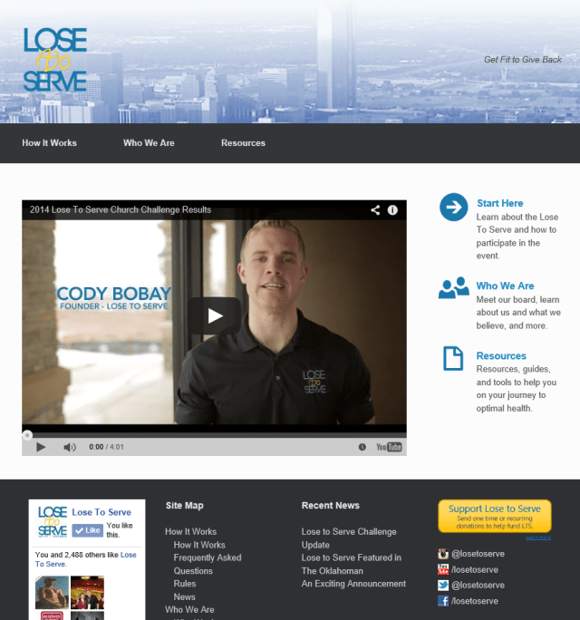 Screenshot of the LoseToServe website.